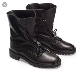 Zara Leather Military Boots